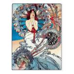 Mucha Monaco Monte carlo art deco poster lady Postcard