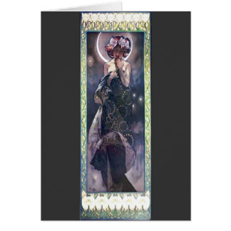 Mucha Moon Night Woman Art Nouveau Deco Greeting Card