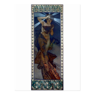 mucha morning star art nouveau poster woman postcard