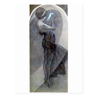 mucha north star art nouveau deco woman postcard