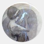 mucha north star art nouveau deco woman round sticker