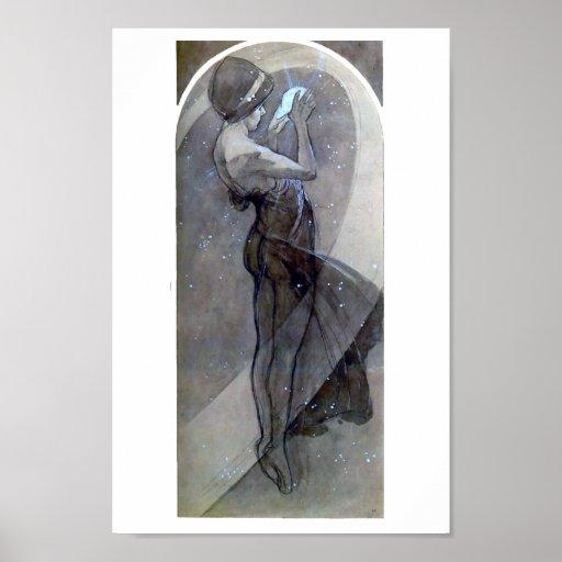 Mucha North Star art nouveau Poster