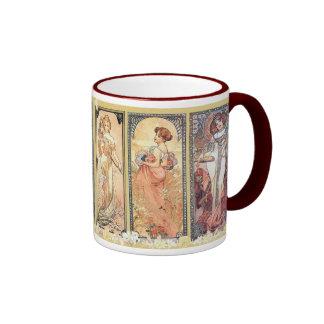 Mucha ~ Panel of Three Ringer Mug