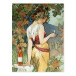 Mucha Postcard:  Cognac - Art Nouveau Postcard