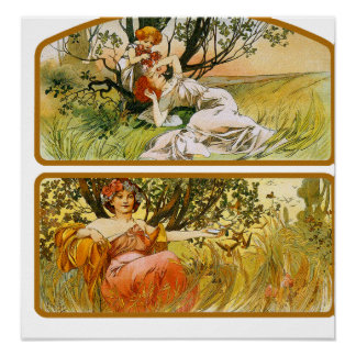 Mucha Poster Print Two Nature Scenes