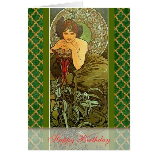 "Mucha ~ ""Precious Stones - Emerald"" May Birthday Greeting Cards"