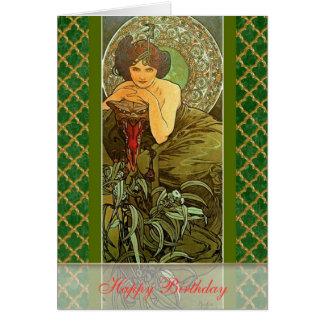 "Mucha ~ ""Precious Stones - Emerald"" May Birthday Greeting Card"