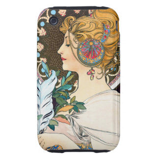 Mucha Primrose and Feather iPhone 3 Tough Cover