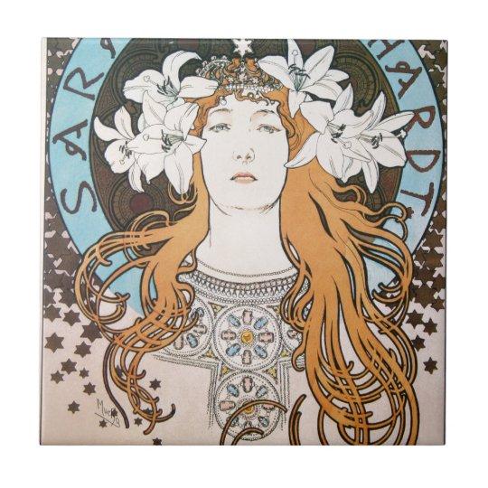 Mucha Sarah Bernhardt Vintage Art Nouveau Tile
