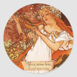 Mucha Spring Art Nouveau Bookplate Stickers