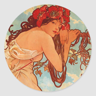 Mucha Summer Classic Round Sticker