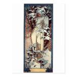mucha winter art nouveau poster woman snow postcard