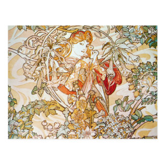 Mucha Woman With Daisy Art Nouveau Postcards