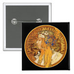 Mucha - Woman with Jewels - Vintage Art Pinback Buttons