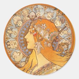 Mucha - Zodiac Round Sticker