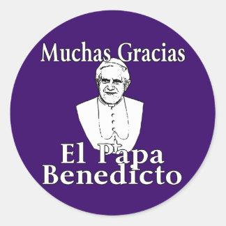 Muchas Gracias Pope Benedict Round Sticker