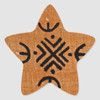 Mud cloth orange star sticker