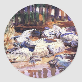 Muddy Alligators by John Singer Sargent Round Sticker