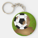 Muddy Football Basic Round Button Key Ring