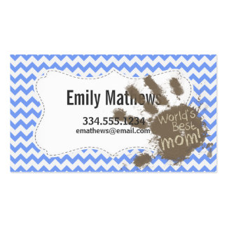 Muddy Hand Print on Blue Chevron Pattern Pack Of Standard Business Cards