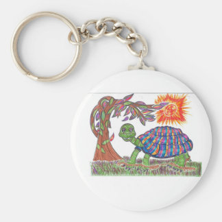 Mudpud the Turtle in the Sun Basic Round Button Key Ring