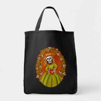 Muerta Skeleton Lady with Heart Tote Bag