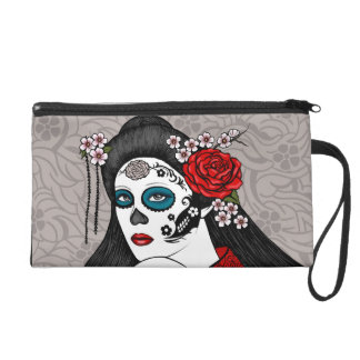 Muertos Day of the Dead Geisha Girl Art Wristlet Purse