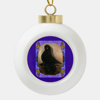 Muffed Tumbler Pigeon Framed Ceramic Ball Decoration