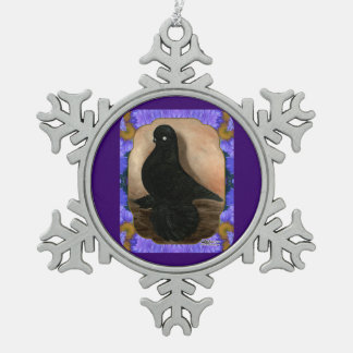 Muffed Tumbler Pigeon Framed Pewter Snowflake Decoration