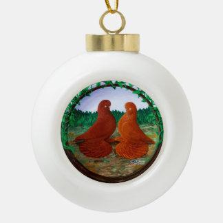 Muffed Tumbler Pigeons2 Ceramic Ball Decoration