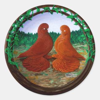 Muffed Tumbler Pigeons2 Round Sticker