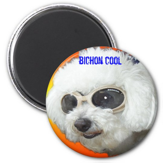 Muffet doggles orig, bichon cool 6 cm round magnet