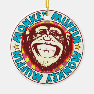 Muffin Monkey Round Ceramic Decoration