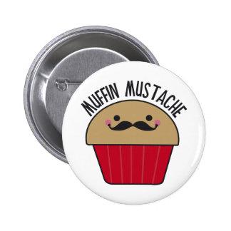 Muffin Mustache Pinback Buttons