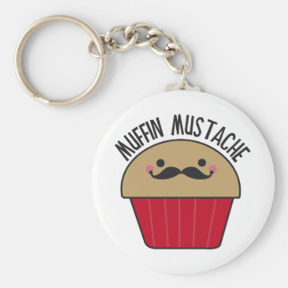 Muffin Mustache Basic Round Button Key Ring