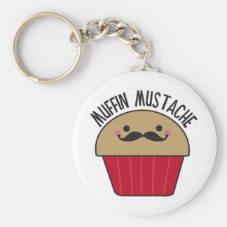 Muffin Mustache Basic Round Button Key Ring