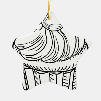Muffin Vintage Retro Woodcut Style Christmas Ornament