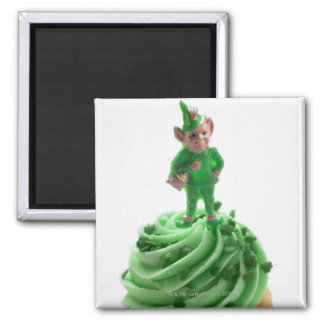 Muffin with green cream for St. Patrick's Day Magnet