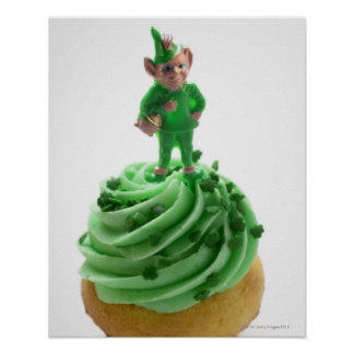 Muffin with green cream for St. Patrick's Day Print