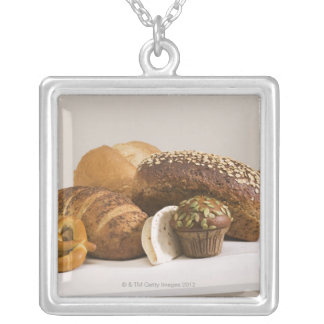 Muffins and dinner rolls silver plated necklace