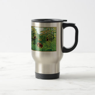 "Mug: ""Apes in the Orange Grove"" by Henri Rousseau Stainless Steel Travel Mug"