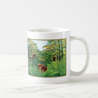 "Mug: ""Apes in the Orange Grove"" by Henri Rousseau Basic White Mug"