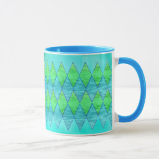 MUG - Aqua Blue/Green Diamond Pattern - Abstract