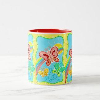 Mug-Bright & Cheery Butterfly Two-Tone Coffee Mug