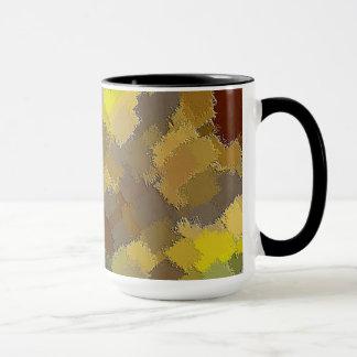 Mug. Browns and Yellows patchwork quilt. Mug