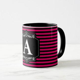 Mug Combo 325 ml Pink Stripes Monogram