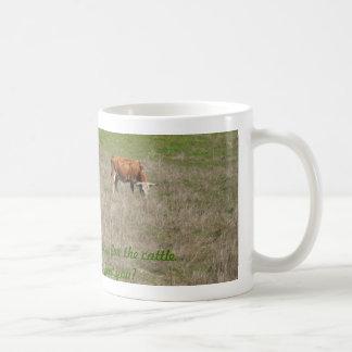 """Mug: Cow eating grass. """"God causes grass to grow."""" Basic White Mug"""