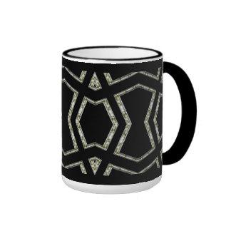 Mug Cup Black Silver Art Deco 4 Coffee Mugs