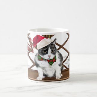 mug:  Felix, the cat, at Christmas Coffee Mug