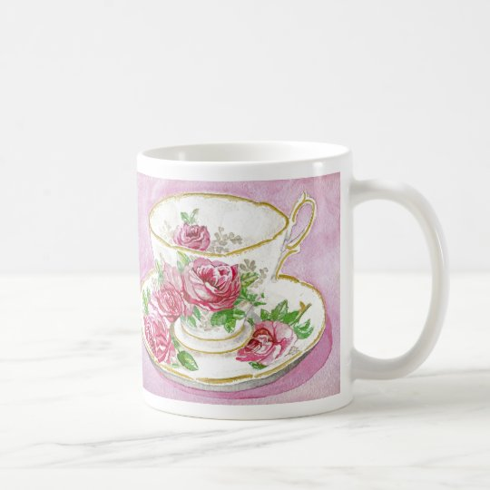 Mug - Floral Pink Rose Teacup & Saucer
